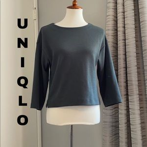 Uniqlo teal thick knit top